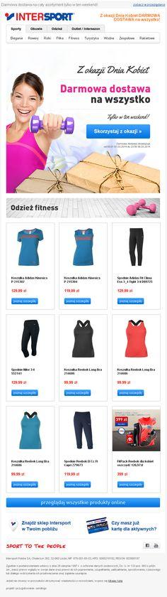 Projekt newslettera przygotowany dla sklepu internetowego INTERSPORT - Darmowa dostawa z okazji Dnia Kobiet / #emailmarketing #newsletter #email #kobieta #sport