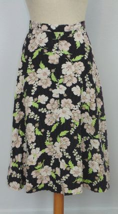 60's black floral circle skirt by Ginori by MillerAndCampbell, $34.00
