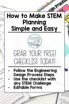Grab a Free Planning Checklist that will help you remember all those small details when planning a STEM Challenge!