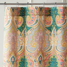 Pier 1 Imports Multi-colored Medallion Shower Curtain (£28) ❤ liked on Polyvore featuring home, bed & bath, bath, shower curtains, multicolor, multi colored shower curtains, cotton shower curtains, pier 1 imports, colorful shower curtains and multi color shower curtains
