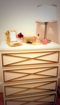 Ikea malm hack with gold overlays
