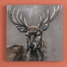 Stag' Framed Painting Print on Canvas