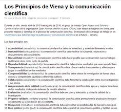 Los Principios de Viena y la comunicación científica / @tramullas | #readyforsciencecommunication
