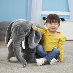 Elephant Giant Stuffed Animal for kids by Melissa & Doug Toy Giant Stuffed Animals, Stuffed Toy, Giant Plush, Melissa & Doug, Craft Projects For Kids, All Toys, Child Safety, Toddler Toys, Kids House