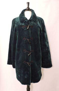 NWOT Dennis Basso Womens Zipper Faux Fur Dark Emerald Duffle Coat Jacket Size XS #DennisBasso #DuffleCoat