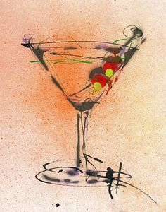 Martini Painting - Cocktail #2 by Ryan  Hopkins