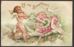 Valentine Clapsaddle 1908 Vintage Postcard - Cherub with Key to Flower Heart, Doves