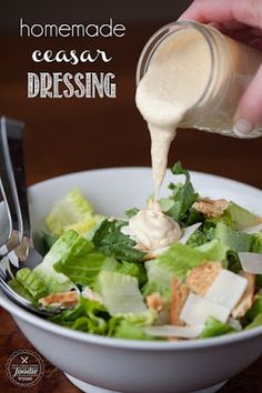 My family loves Ceasar Salad, and making my own Homemade Ceasar Dressing from scratch with anchovy paste, egg yolk, lemon and olive oil was incredibly easy! Cesar Salat Dressing, Ceasar Salad Recipe Dressing, Homemade Caesar Salad Dressing, Salad Dressing Recipes, Dressing Caesar, Sauce Caesar, Ceasar Salat, Sauces, Cheese