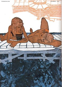 Illustration by Phil Hays, Cosmopolitan magazine: November 1956 Art And Illustration, Illustrations, Magazine Illustration, Graphic Novel, School Of Visual Arts, Art Graphique, Pulp Art, Retro Art, Art Inspo