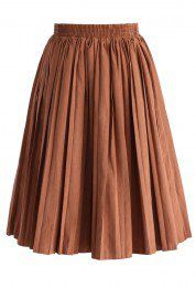 Accordion Pleated Skirt in Camel