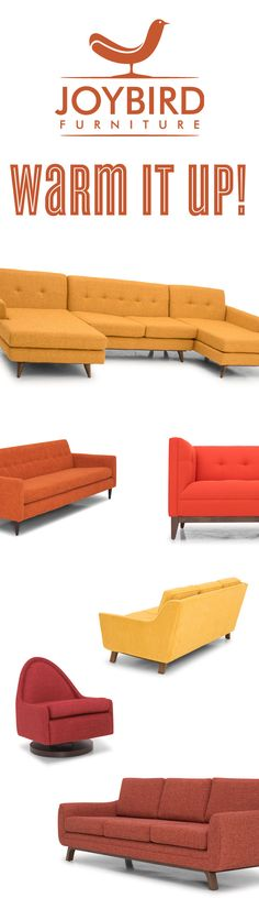 Creating a warm, rich space has never been this much fun. Premium quality furniture in unique designs that is custom-made to your exact needs. Wrap yourself in the perfect shade of red, orange and yellow with Joybird Furniture.