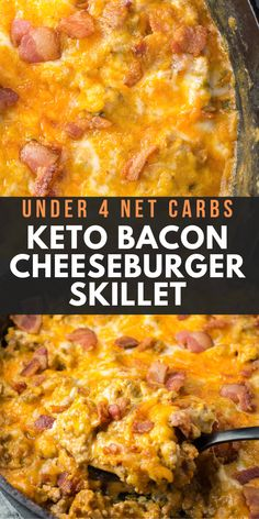 This One Pan Keto Bacon Cheeseburger Skillet is under 4 net carbs and is loaded with ground beef, bacon, a creamy sauce and cheese! This keto dinner is ready in under 20 minutes! recipes with ground beef Keto Bacon Cheeseburger Skillet Cena Keto, Comida Keto, Cooking Recipes, Healthy Recipes, Keto Crockpot Recipes, Roast Recipes, Shrimp Recipes, Easy Gluten Free Recipes, Crock Pot Recipes