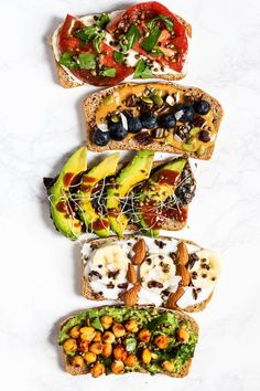 Amp up your plain piece of toast with these 5 Breakfast Toast Ideas! This list includes 5 healthy toast toppings with both sweet & savory vegan toast options. These make for an easy vegan breakfast for busy mornings! Healthy Vegan Breakfast, Vegan Snacks, Healthy Snacks, Plant Based Breakfast, Breakfast Toast, Breakfast Ideas, Savory Breakfast, Nutritious Breakfast, Hash Browns