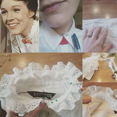 Mary Poppins thrift store shirt is making progress during my sick day ^_~♡ Though right now it looks like a torture device... I don't have a sewing machine... so this is a tedious  handmade task LOL ~♡☆♡☆♡ #marypoppins #marypoppinscostume #costumediy #thriftstorefinds #transformation #project #sickday #makingprogress #handmade #handstitched #nosewingmachine #halloween