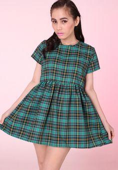 Green Tartan Baby Doll Mini Dress