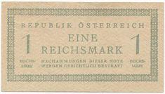 1 REICHSMARK 1945 (SOWJETISCHES BESATZUNGSGELD) Österreich 1, Report Cards, Post War Era, Branding, Money