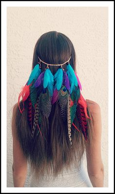 Clip in, colorful ,veil, Feather, headband, native, american, style, hair piece…