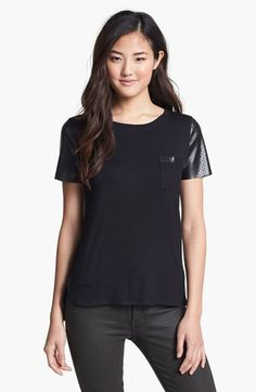 Everleigh Faux Leather Sleeve Tee (Petite) available at #Nordstrom