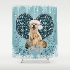 It's winter and christmas time, cute kitten and dogs Shower Curtain by
