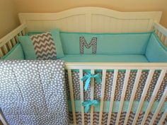 Modern Gray and Aqua Crib Bedding.