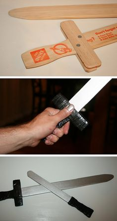 Make a pirate sword from paint sticks.