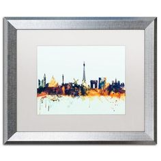 """Trademark Art """"Paris France Skyline Blue"""" by Michael Tompsett Framed Graphic Art Size: 16"""" H x 20"""" W x 0.5"""" D"""