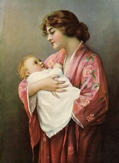 Victorian Mother and Child Art  Restored Art Print  by annswhimsey, $12.00