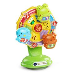Spin the wheel of fun with the Lil' Critters Spin & Discover Ferris Wheel by VTech! This unique toy attracts your baby's attention with flashing stars a friendly voice and happy music. It also includ...