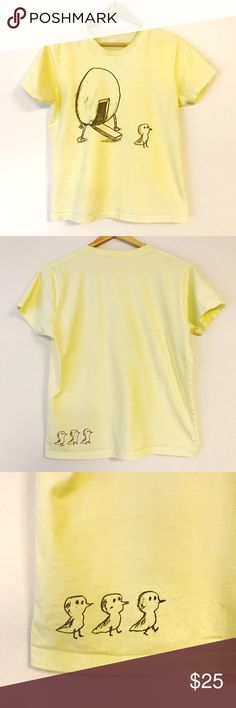 Design Tshirt🍋 Cute graphic design T-shirt. Size S. Cotton 100%. Very decent material made. Bright lemon color🍋 Purchased in Japan. Graniph Tops Tees - Short Sleeve