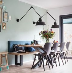 15 Dining Room Ideas By Top Interior Designers From England Dining Nook, Dining Room Lighting, Dining Room Design, Dining Room Bench, Wall Lighting, Lighting Ideas, Lighting Design, Dining Table, Room Interior Design