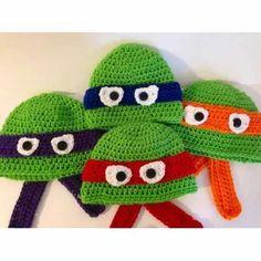 Touca De Croche Tartarugas Ninjas - Art Crochê - R$ 32,90