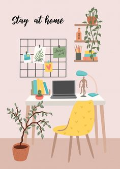 Stay at home. workplace at home. Kawaii Illustration, Graphic Design Illustration, Aesthetic Room Decor, Aesthetic Art, Cool Wallpaper, Pattern Wallpaper, Bedroom Drawing, Animal Crafts For Kids, Kids Study