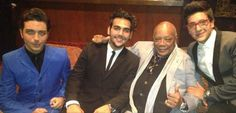 The boys, Gianluca, Ignazio & Piero with music icon and legend, Quincy Jones at the Gibson  Amphitheatre concert, 8/28/2013 ⭐IL VOLO⭐