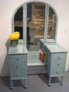 You know... this would be really easy to build, out of two old end tables, which I happen to have in my closet).  Antique Vanity in Annie Sloan Chalk Paint