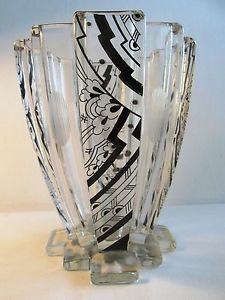 KARL PALDA - BOHEMIAN MODERNIST ART DECO HAND PAINTED BLACK ENAMELED GLASS VASE | eBay