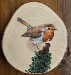 rudzik (Erithacus rubecula) in 2020 Birds Painting, Wood Slice Art, Painting On Wood, Painting, Wood Painting Art, Mini Canvas Art, Canvas Art, Painted Rocks, Bird Art