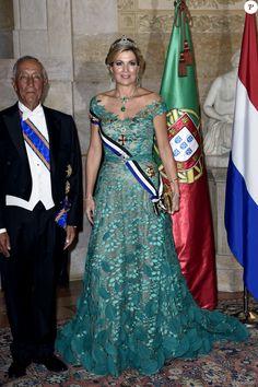 La reine Maxima des Pays-Bas et Marcelo Rebelo de Sousa (le président de la République portuguaise) - Le roi et la reine des Pays-Bas lors d'un dîner d'état au Palais national d'Ajuda lors de leur visite officielle à Lisbonne, le 10 octobre 2017.  Dutch royals at a state dinner at Palacio da Ajuda, Lisbon, Portugal - 10 Oct 201710/10/2017 - Lisbonne