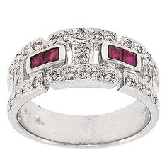 0.70 Ct Certified Round Diamonds Princess Ruby Cocktail Ring Band 14K White Gold #Cocktail #Certified #Diamonds #Ruby #Ring #band #14K #White #Gold #Christmas #Gift