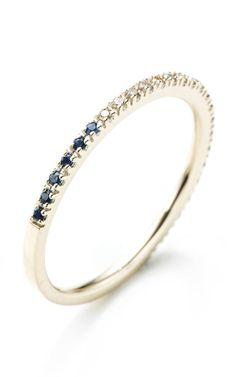 Shop M.O Exclusive Version: Gossamer Black And White Diamond And Blue Sapphire Ring by Hirotaka - Moda Operandi