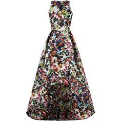 ML Monique Lhuillier Multi Floral High Low Gown ($25) ❤ liked on Polyvore featuring dresses, gowns, high low dresses, floral ball gown, white high low dress, white evening dresses and high low ball gown