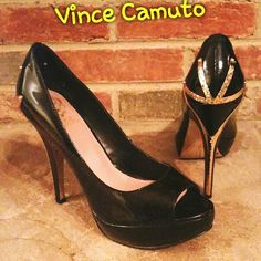Vince Camuto Platform Heels Beautiful platforms with gold hardware detailing. Minimal wear, more pics upon request.  Available on Merc for less. Vince Camuto Shoes Platforms