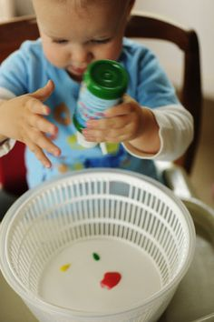 Spin art with a salad spinner