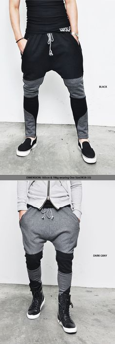 Bottoms :: Sweatpants :: Low Crotch Seaming Biker Baggy-Sweatpants 37 - Mens Fashion Clothing For An Attractive Guy Look | Raddest Men''s Fashion Looks On The Internet: http://www.raddestlooks.net