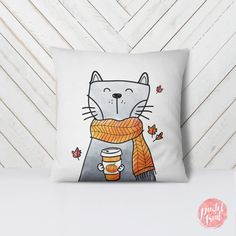 Items similar to Cat Holding Pumpkin Spice Blend - Throw Pillow Case, Pillow Cover, Home Decor - on Etsy Throw Pillow Cases, Pillow Covers, Throw Pillows, Funny Pillows, Spice Blends, Animal Pillows, Mason Jar Crafts, Room Themes, Cat Gifts