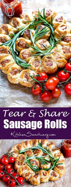 Tear and Share Sausage Rolls These 3 ingredient sausage rolls are so simple and quick to make. Perfect for parties, BBQs, buffets and picnics. Tapas, Christmas Buffet, Christmas Baking, Sandwiches, Sausage Rolls, Xmas Food, Savory Snacks, Partys, Chorizo