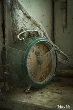 Evidence of time and abandonment. As time goes on things are forgotten and left behind, evidence of this is left everywhere whether it be a rusty object or an abandoned house. Spiderweb, old clock.