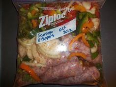 Sausage and peppers assembled and ready to freeze. You'll never need to call for take out dinner again if you assemble some of these delicious and easy freezer meals for the crock pot. Here are five easy recipes that will get you started. Slow Cooker Freezer Meals, Make Ahead Freezer Meals, Crock Pot Freezer, Crock Pot Slow Cooker, Freezer Cooking, Crock Pot Cooking, Slow Cooker Recipes, Crockpot Recipes, Cooking Recipes