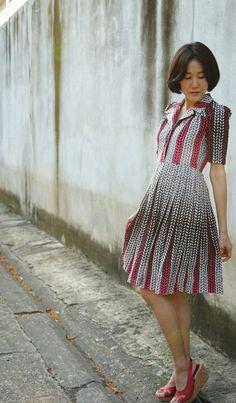 Vintage Dress, 1980s Dress, Vintage Japanese Dress, Vintage Womens Dress, Summer Dress, Boho Dress, 80s Dress, Chevron Dress by hisandhervintage on Etsy