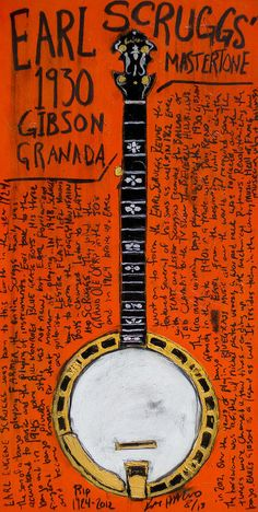 Earl Scruggs Poster featuring the painting Earl Scruggs Gibson Granada Banjo by Karl Haglund