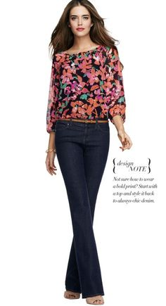 To wear a bold print, start with a top and style it back to always-chic denim.